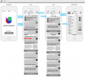 univision wireframes